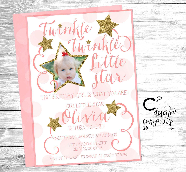 Pink & Gold Twinkle Twinkle Little Star Birthday Invitation ...