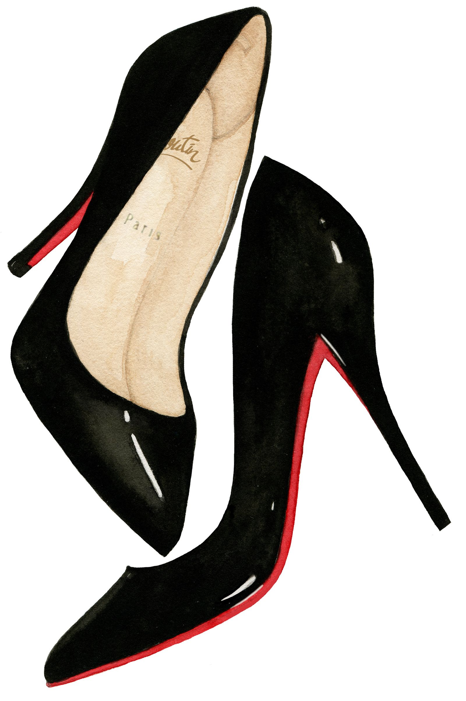 3adaf02b56b2 Hand painted watercolor illustration of shiny black patent leather Christian  Louboutin high heel pump shoes by Dena Cooper.