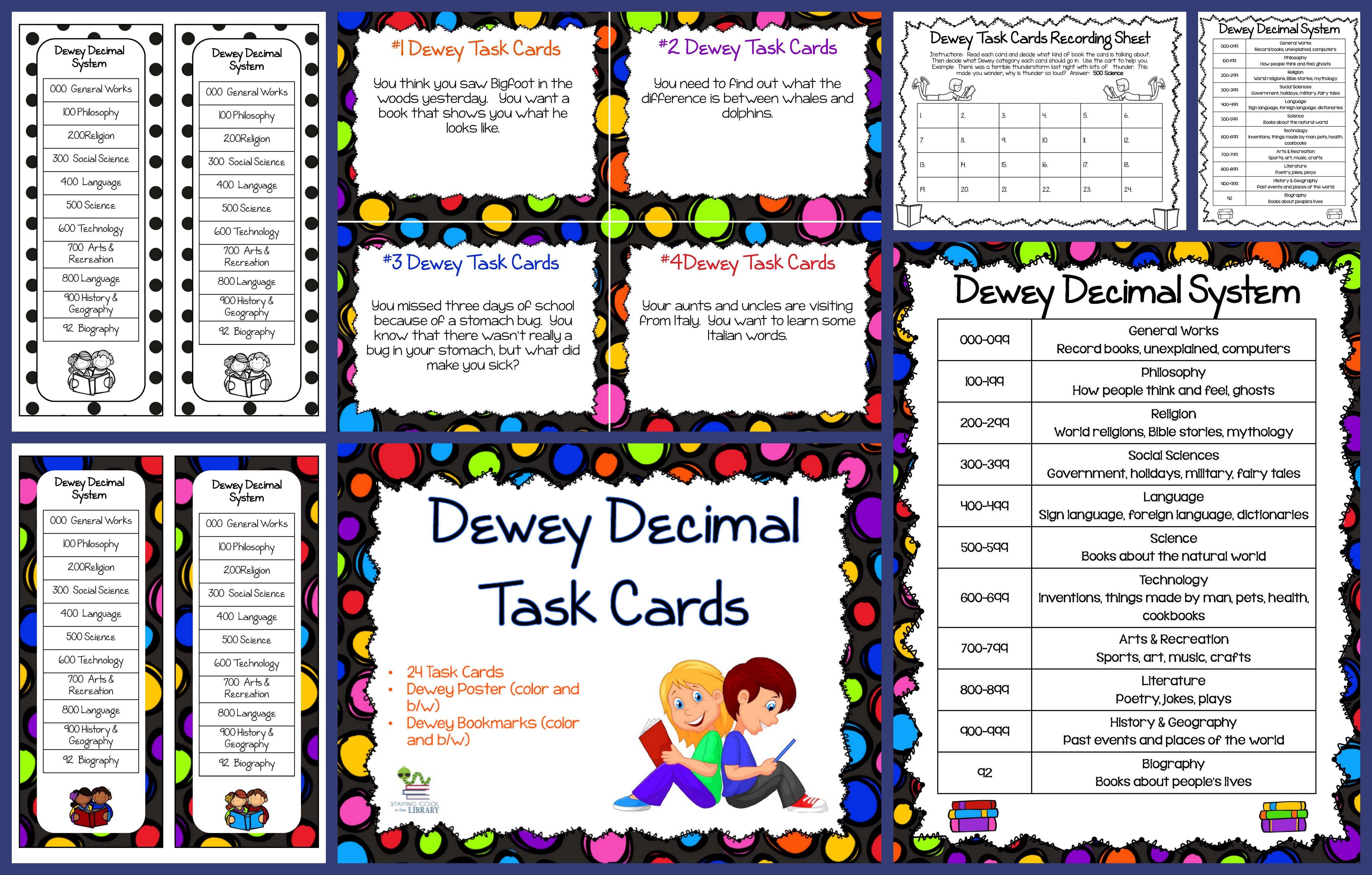 Dewey Decimal Task Cards Teaching