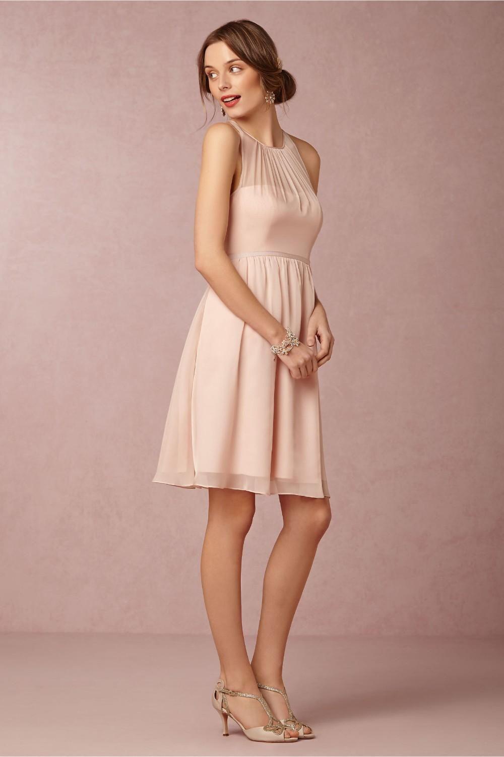 Popular chiffon blush pink bridesmaid dress short round neck a-line ...