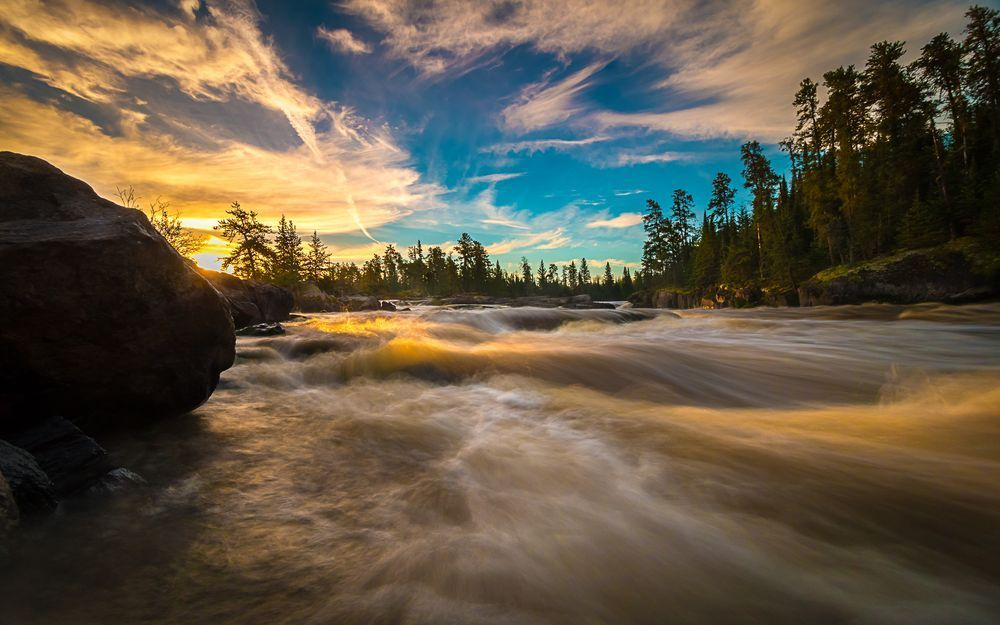 First light in the boreal forest of N.W. Ontario.