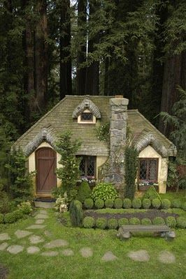 English cottage house with step stones on lawn