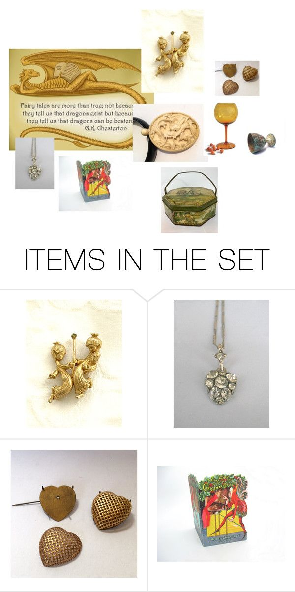 """""""dragons and fairy tales"""" by underlyingsimplicity ❤ liked on Polyvore featuring art, vintage, homedecor, vintagejewelry and voguet"""