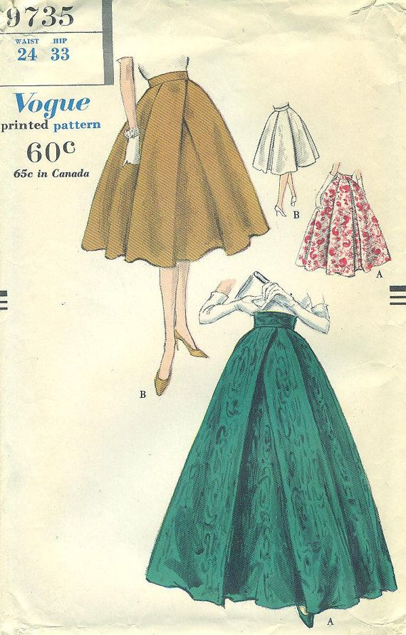 Vogue 9735 Unusual WIDE CROSSOVER PLEATS on Full Skirt with ...
