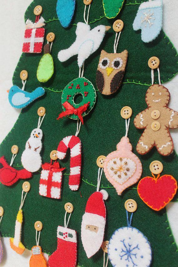 Felt Advent Calendar Pattern Diy No Sew Machine Sew Or Hand Etsy Felt Advent Calendar Felt Christmas Ornaments Advent Calendar Pattern