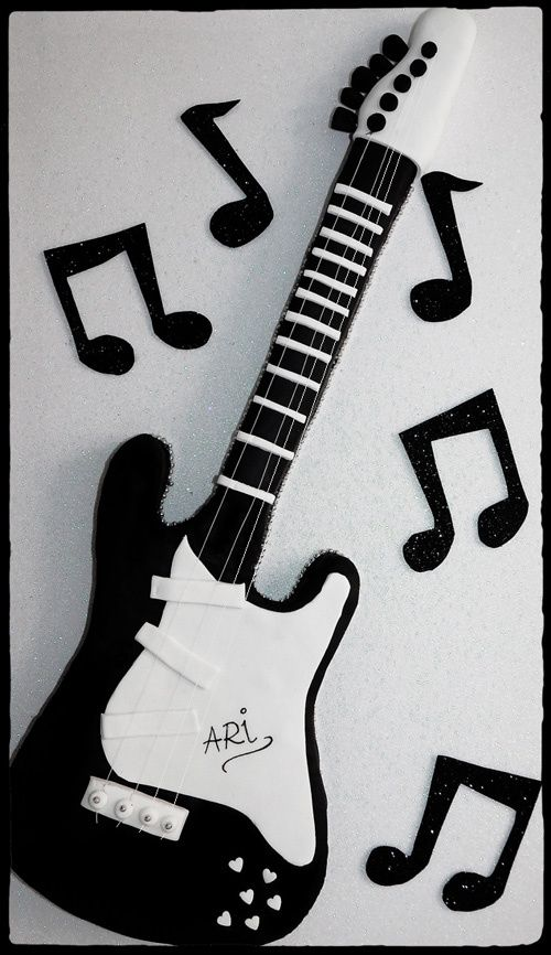 Guitarra eléctrica de fondant | Pinterest | Rock, Rock cakes and ...