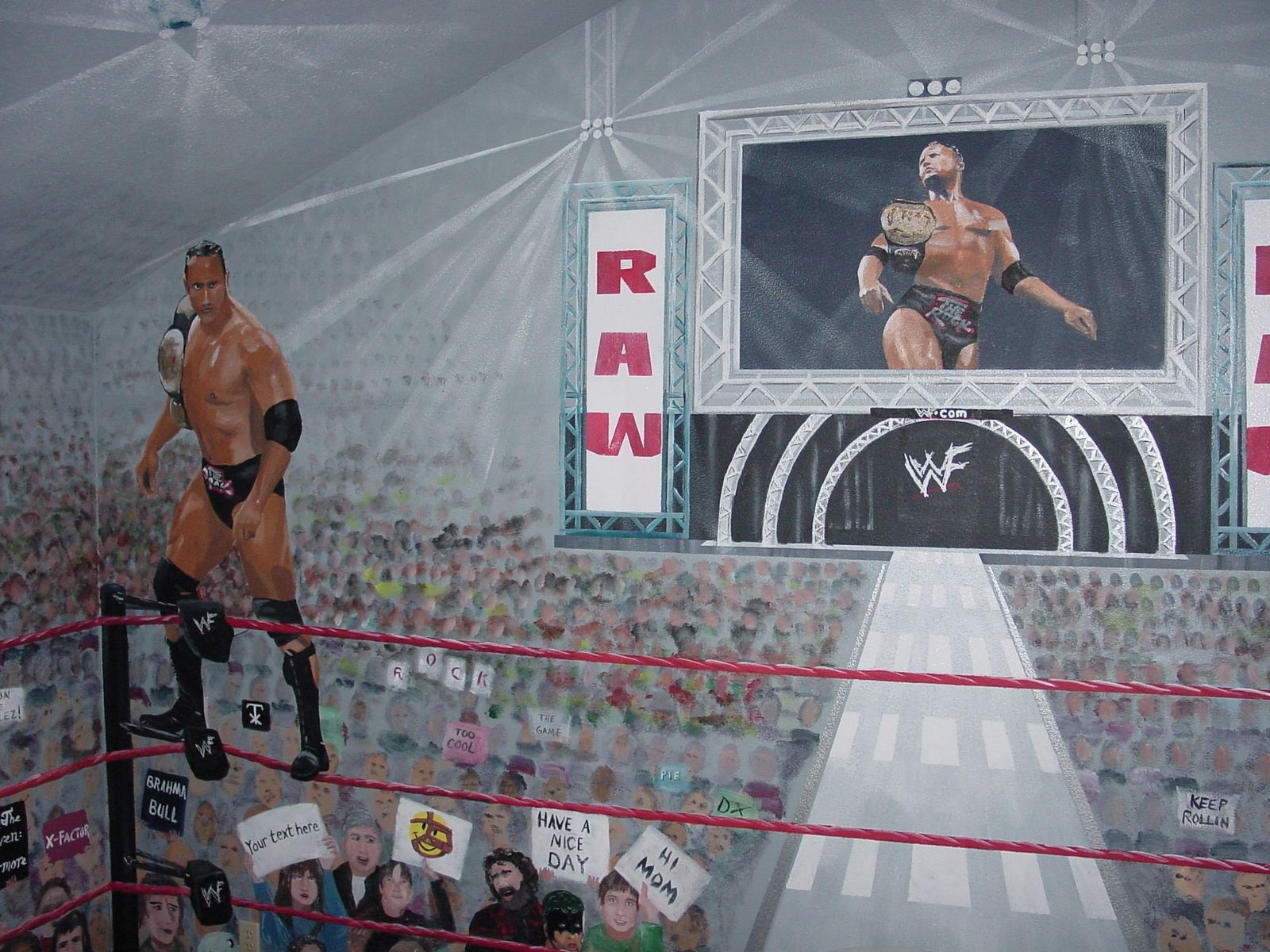 WWE Wrestling Theme Painted In Boys Bedroom. Mbpaintdesign.com
