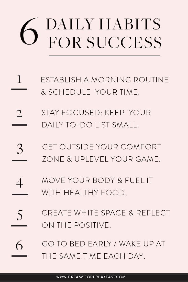 6 Daily Habits for Success | www.dreamsforbreakfast.com  #morningroutine
