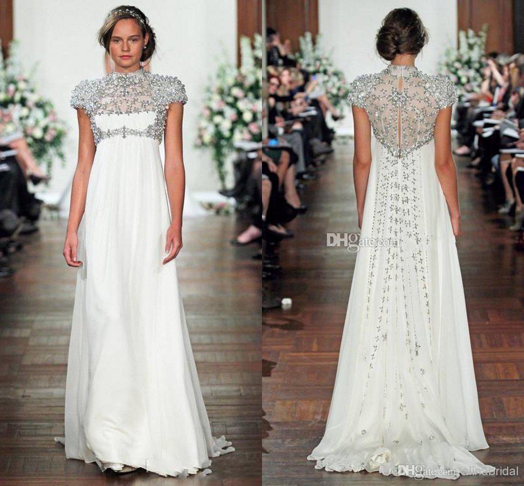 Modest Jenny Packham Maternity Wedding Dresses High Neck