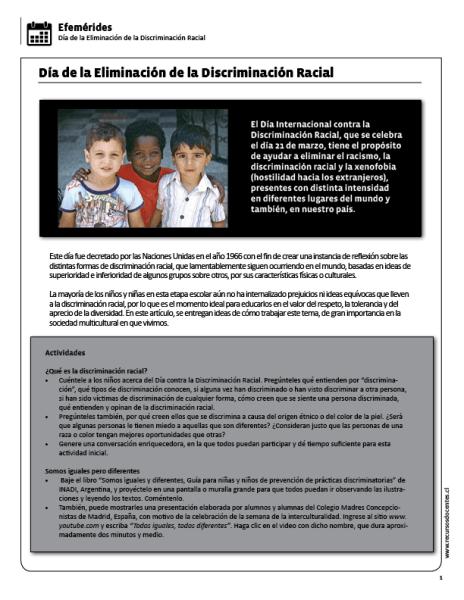 Día De La Eliminación De La Discriminación Racial Discriminacion Celebracion Lectura