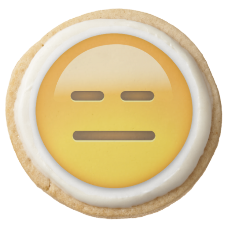 Expressionless Face Emoji Round Shortbread Cookie Zazzle Com Shortbread Cookies Shortbread Square Cookies