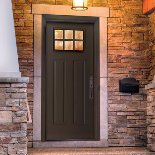 Gentil This Therma Tru Smooth Star Craftsman Lite 2 Panel Door Is A Beautiful  Chocolate Brown, That Adds To The Home Yness Of The Exterior.