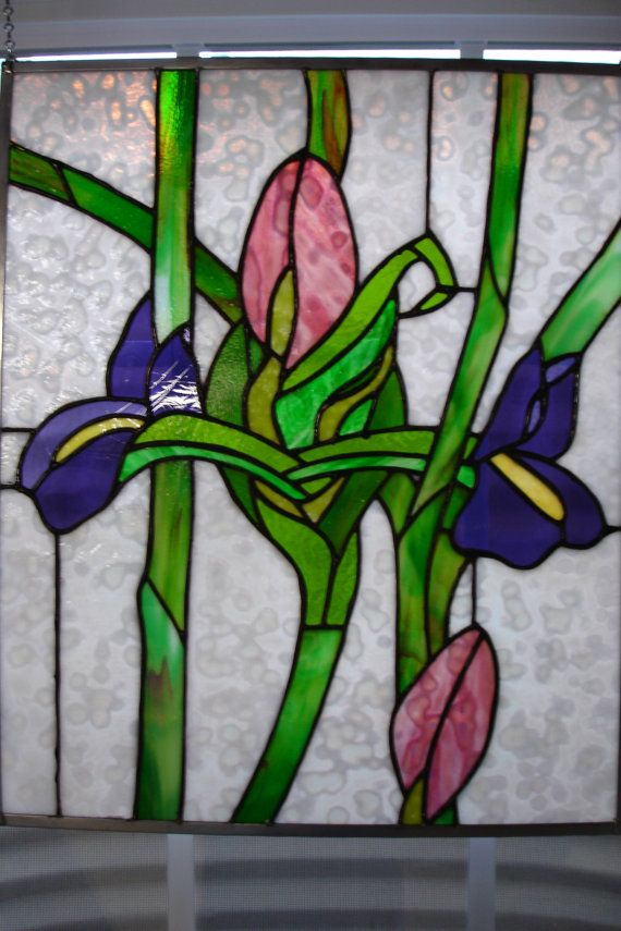 Tulip And Iris Stained Glass Panel Stained Glass Flowers