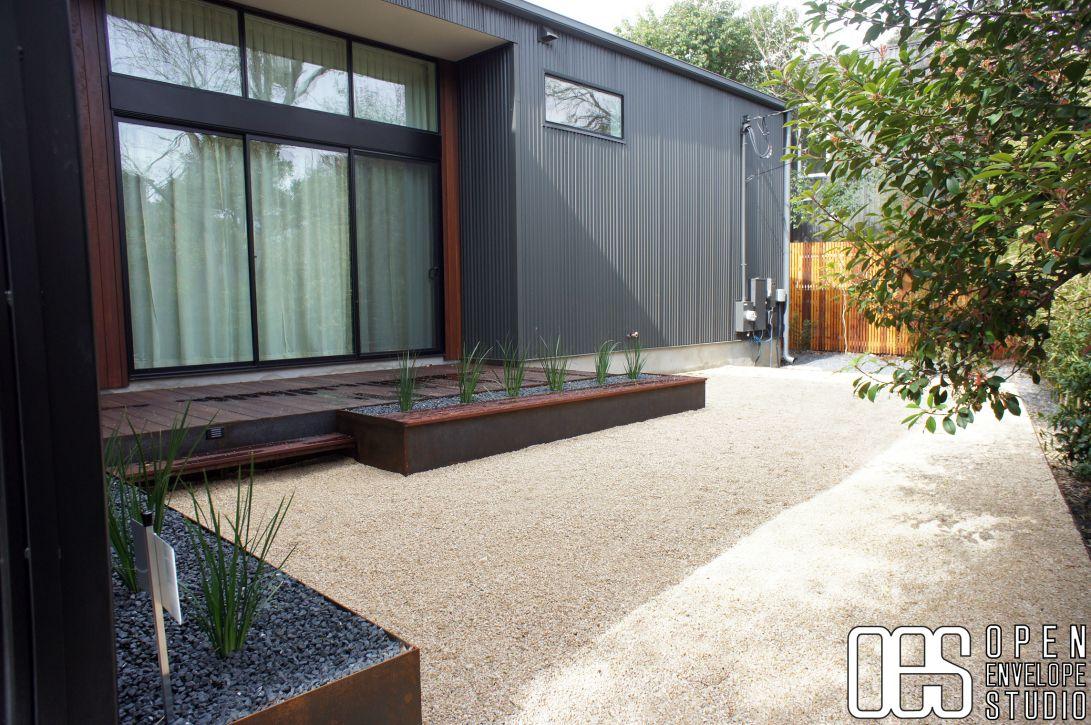 OES | Custom Massaranduba Hardwood Bench, Steel Planter With Native Plants, Crushed  Limestone Patio