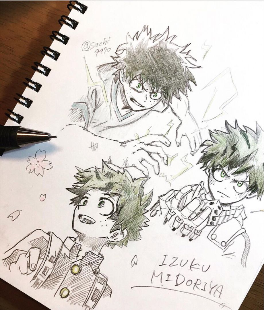 Izuku Midoriya Anime Sketch Sketches Anime