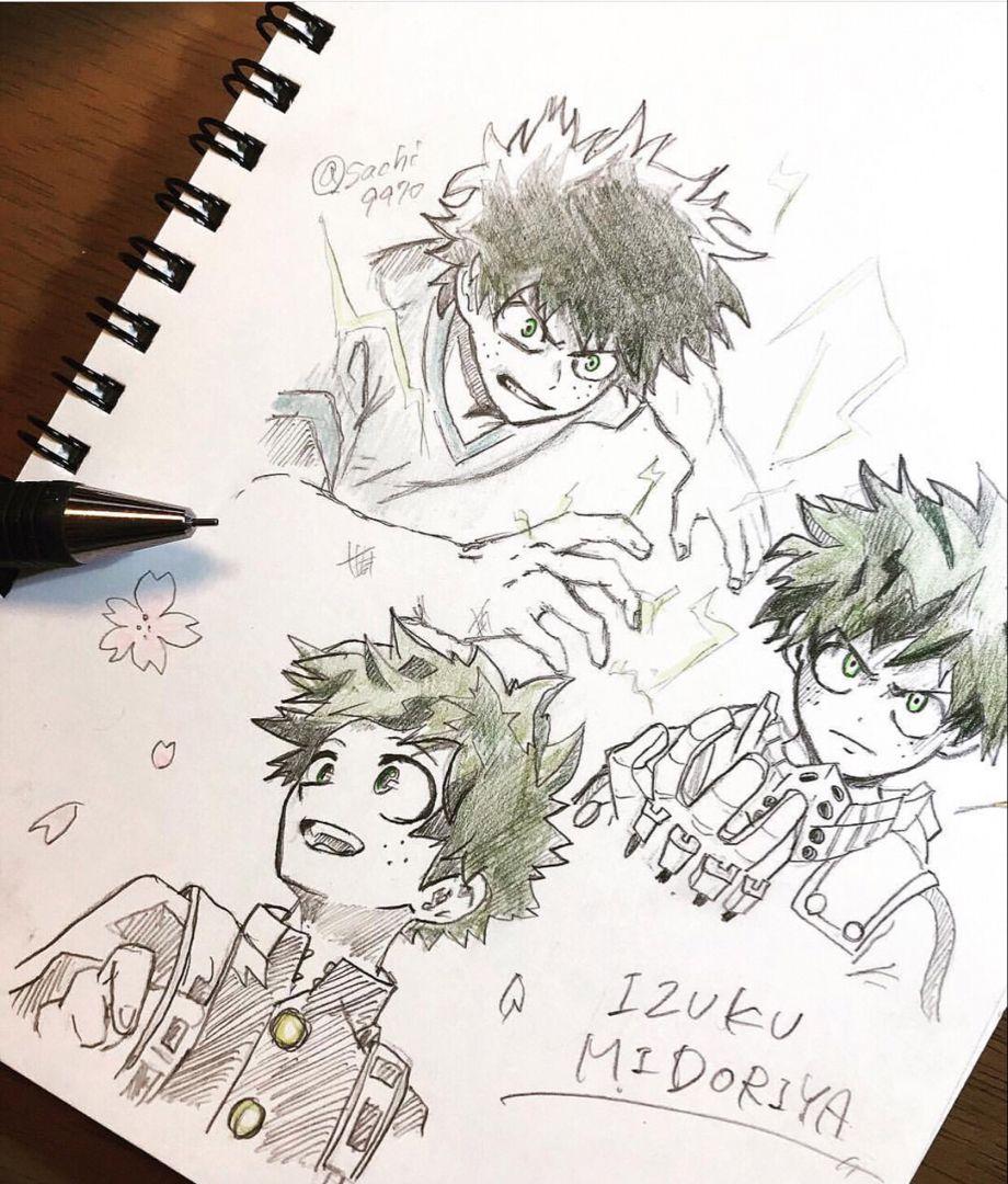 images How To Draw My Hero Academia Characters Deku izuku midoriya sketches anime sketch