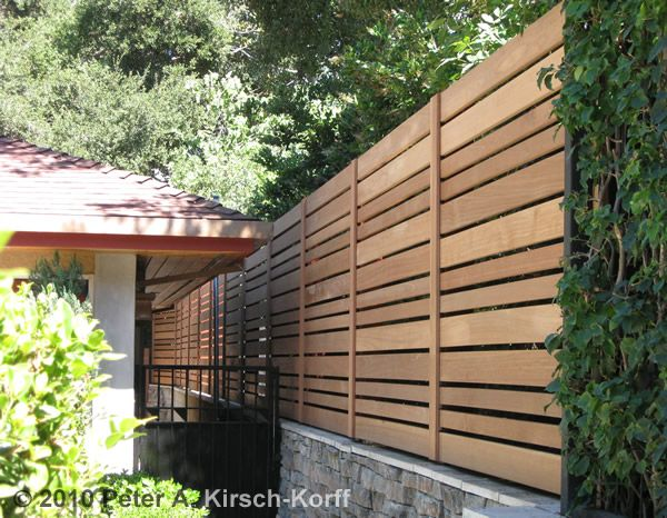 Modern Horizontal Fencing With Varying Sized Slats Wood Fence