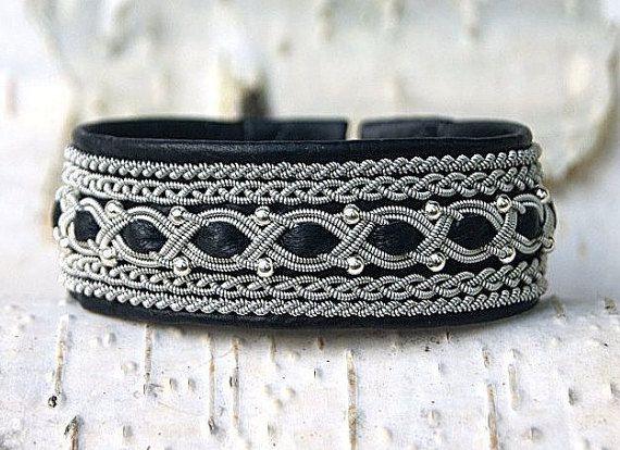 Sami Lapland Viking Leather Armband Women Leather Cuff Bracelet