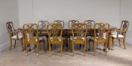 Italian Marquetry Dining Table U0026 Set Walnut George II Chairs