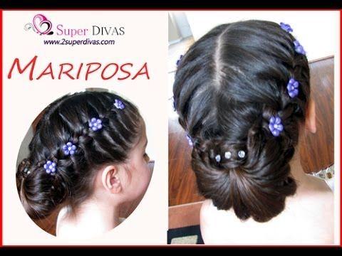 trenza mariposa peinado para fiesta trenza y flores peinado infantil pelo largo
