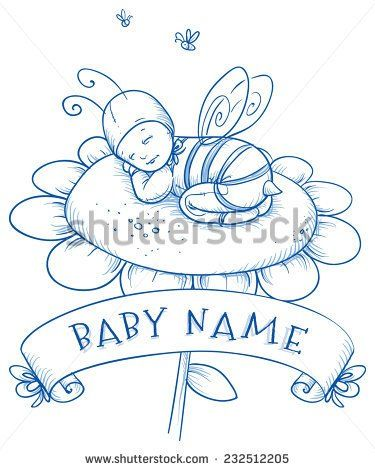 Baby Shower Cute Baby Sleeping On Flower In Bee Costume With Banner Above For Baby S Name Hand Drawn Line Cute Baby Sleeping Name Drawings Sleeping Drawing