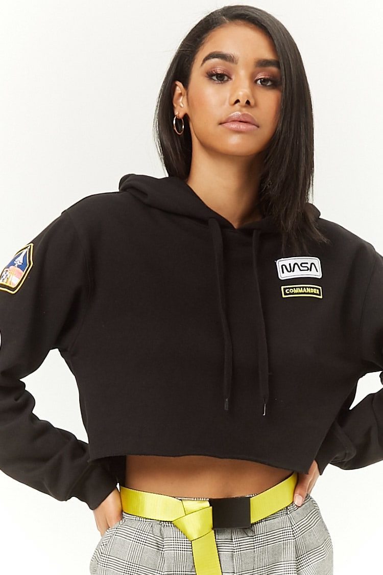 dd7ee92730c9c6 NASA Patch Cropped Hoodie-FOREVER 21