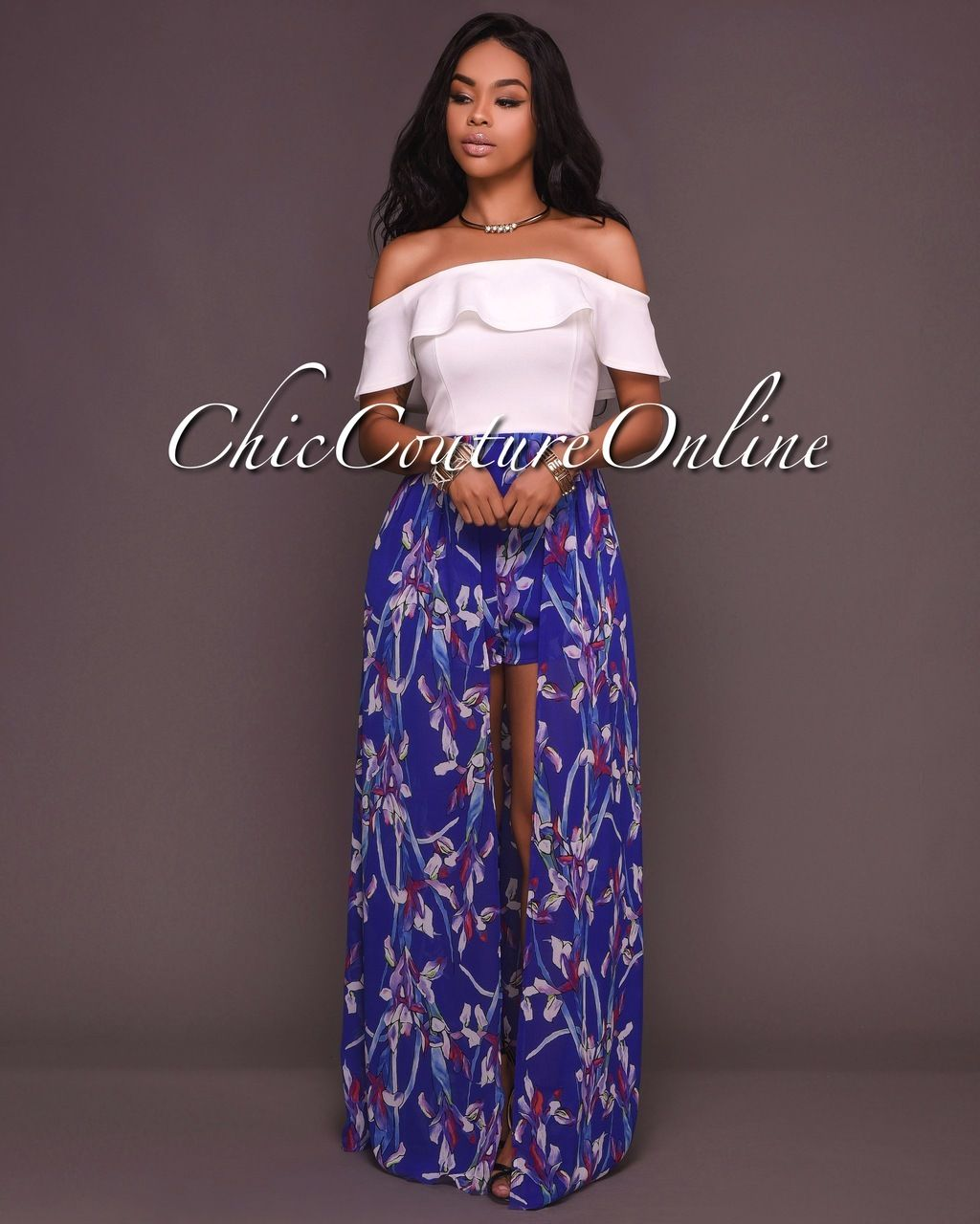 Chic Couture Online - Melika White Blue Floral Print Romper Maxi ...