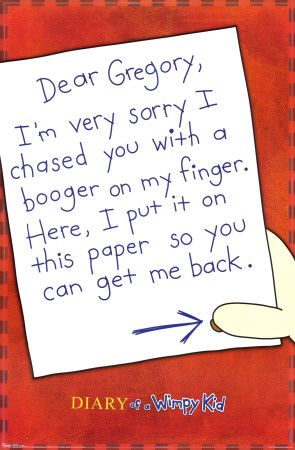 Wimpy kid booger wimpy jeff kinney and books dear gregory im very sorry i chased you with a boger on my finger diary of a wimpy kidjeff kinney solutioingenieria Images