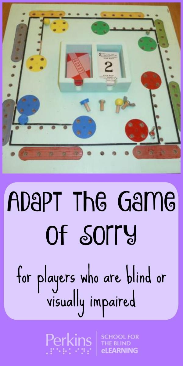Adapted Sorry Board Game Blind Children Activities Visually Impaired Activities Visually Impaired Students