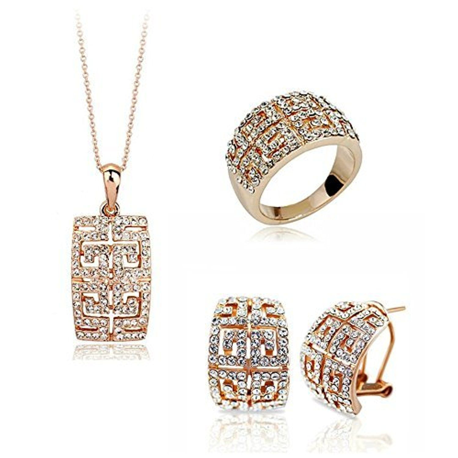 HSG Luxury Bride Wedding Jewelry Set Necklace Ring Earrings in Rose