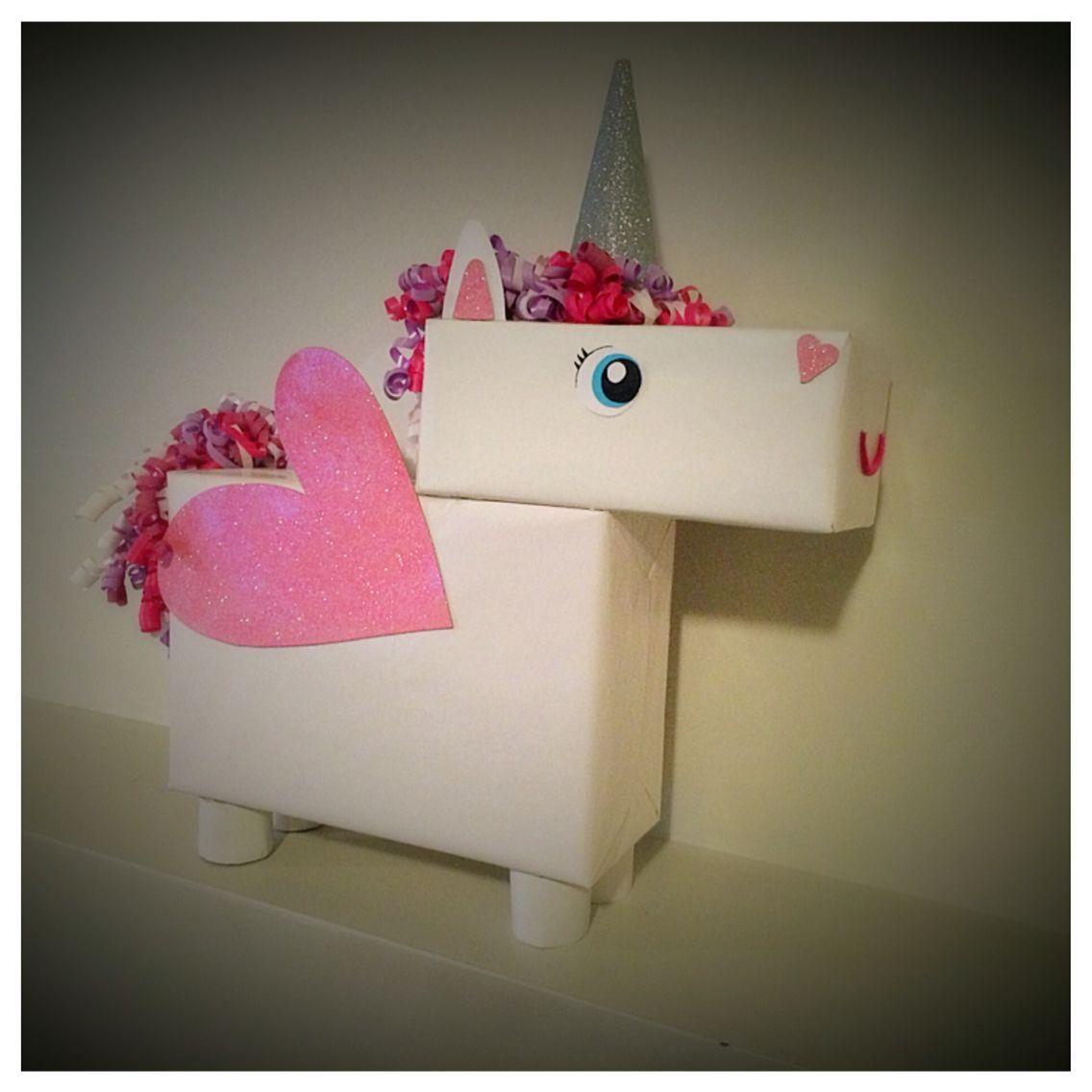 Unicorn Valentine S Day Box Using Dollar Tree Items Diy School Valentine Box Valentine Day Boxes Vday Crafts Unicorn Valentines