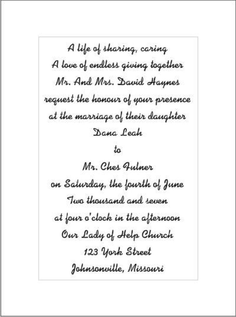 Wedding Invitation Text Party Card In