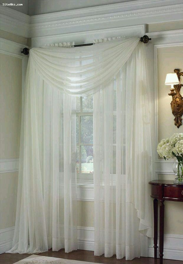 Biege Ivory Off White 2 Pcs Sheer Voile Window Panel Solid Brand New Curtain