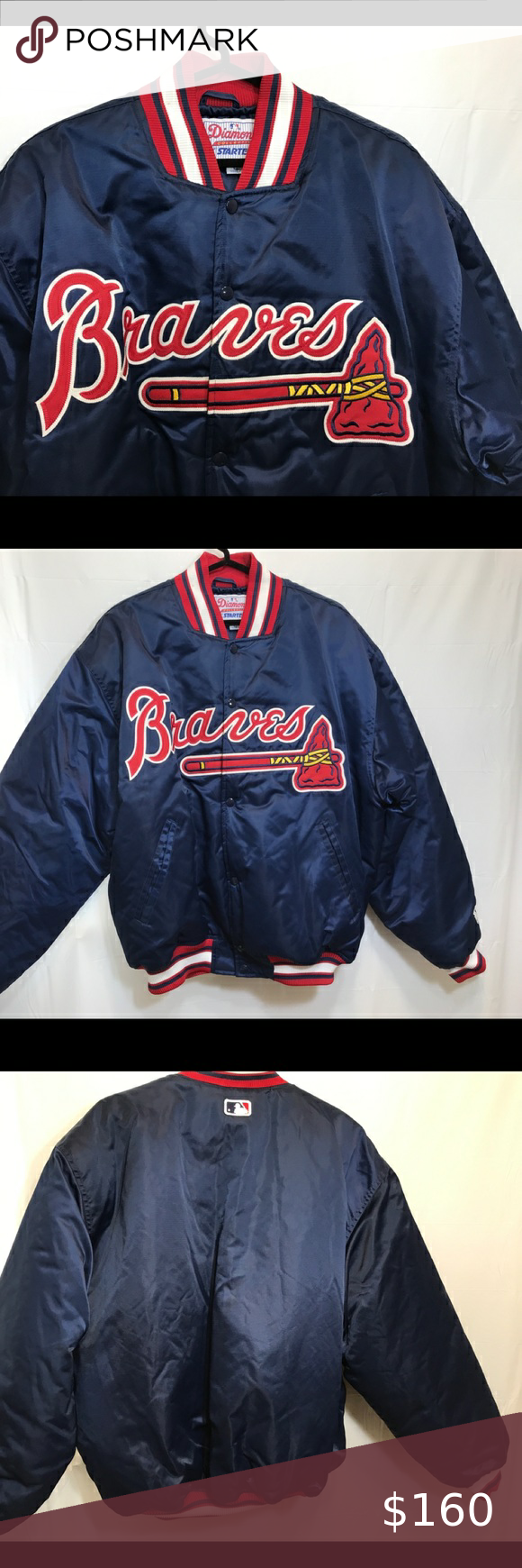 Vintage Atlanta Braves Starter Satin Snap Jacket Vintage 90 S Starter Mlb Atlanta Braves Diamond Collection Snap But In 2020 Satin Bomber Jacket Atlanta Braves Jackets