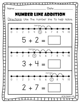 number line addition subtraction number math and school. Black Bedroom Furniture Sets. Home Design Ideas
