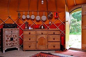 Yurt interior - kitchen