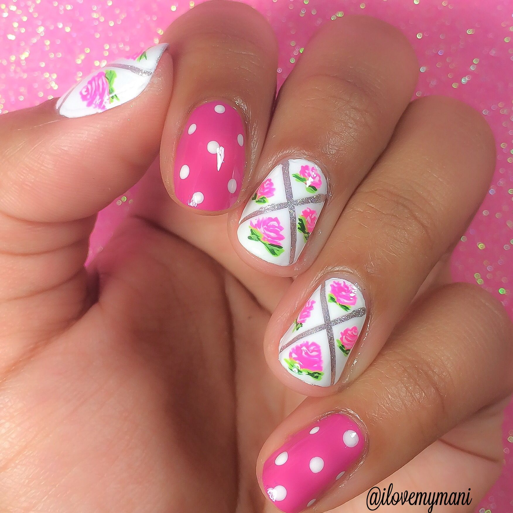 Hand painted - acrylic paint - girly floral nail art using striping ...