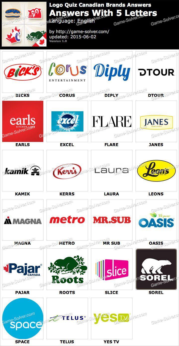 Logo Quiz Canadian Brands With 5 Letters Logo Quiz Logo Quiz Answers Logos