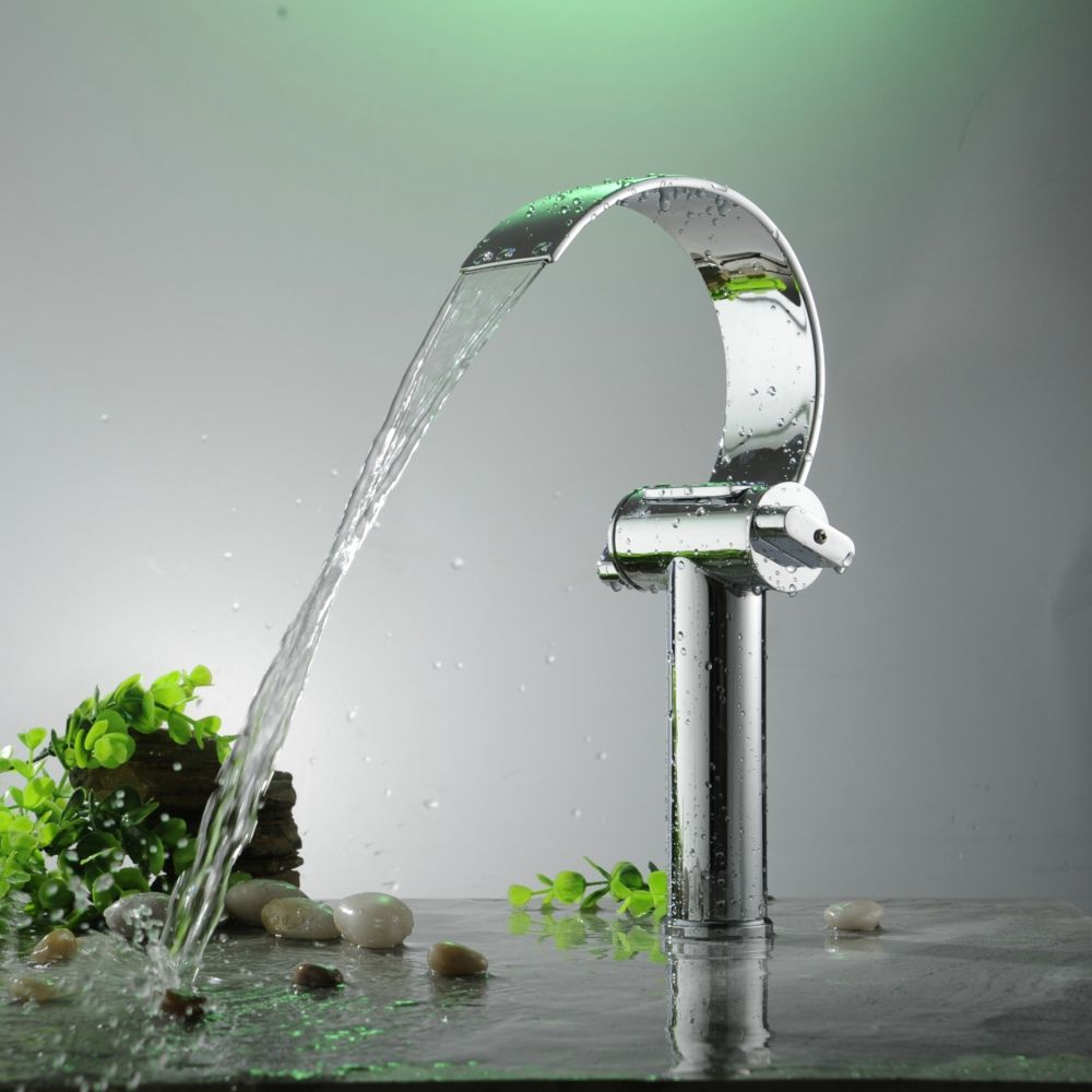 BAKALA Luxury Brass Chromed Waterfall Faucet Two handle single hole ...