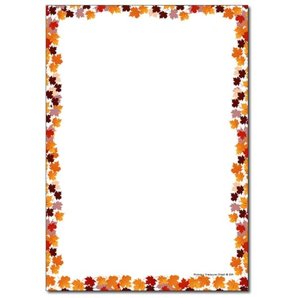 Autumn Leaves Page Border Writing Frame No Lines Page Borders Fall Borders Printable Stationery