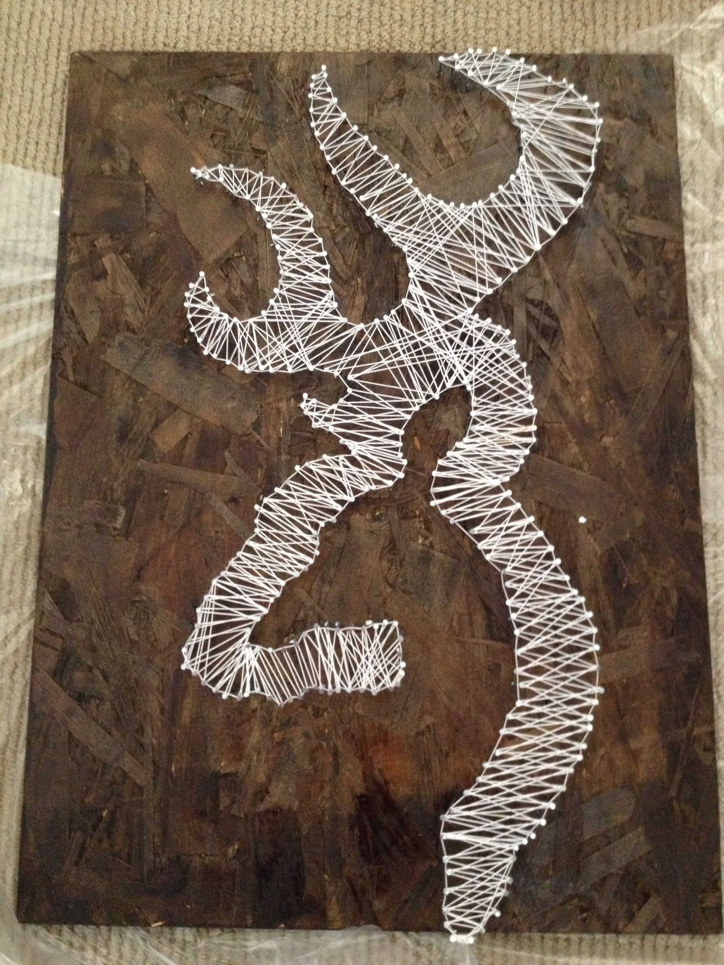 Browning Deer Logo Homemade Easy Wood Nails String And Stencil Of