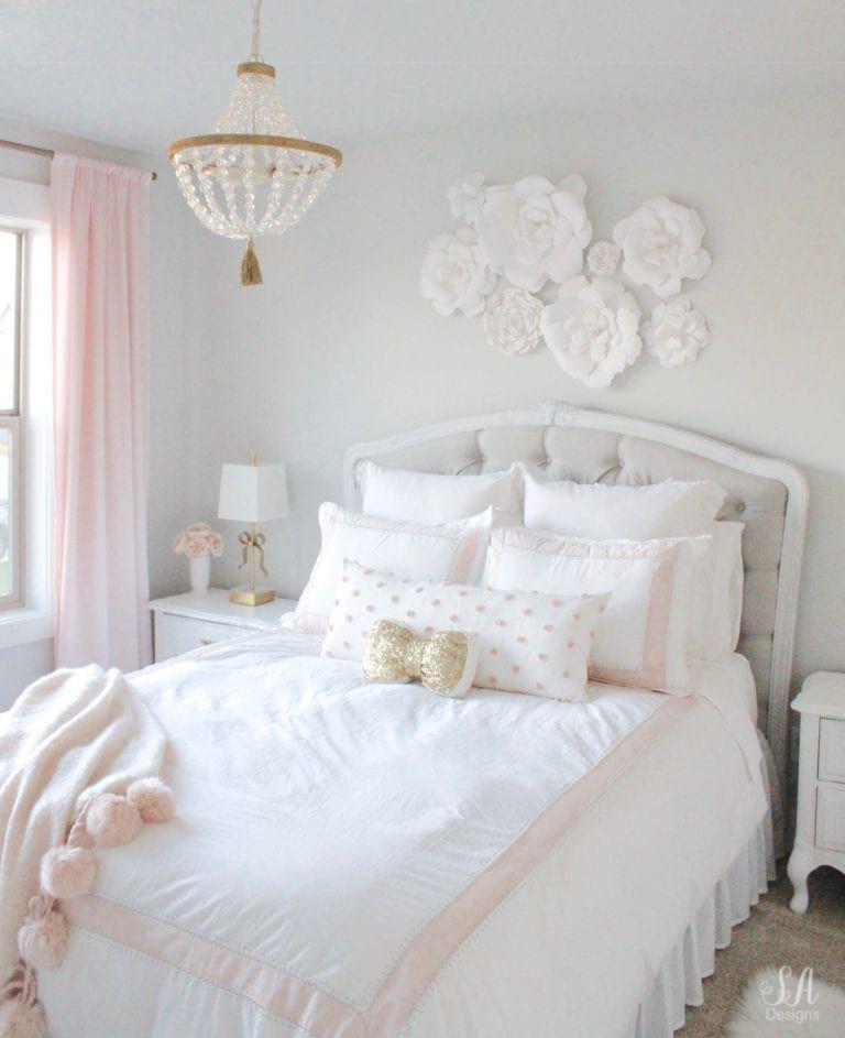 Tween Girl S Bedroom In Blush Gold Grey Modern Vintage