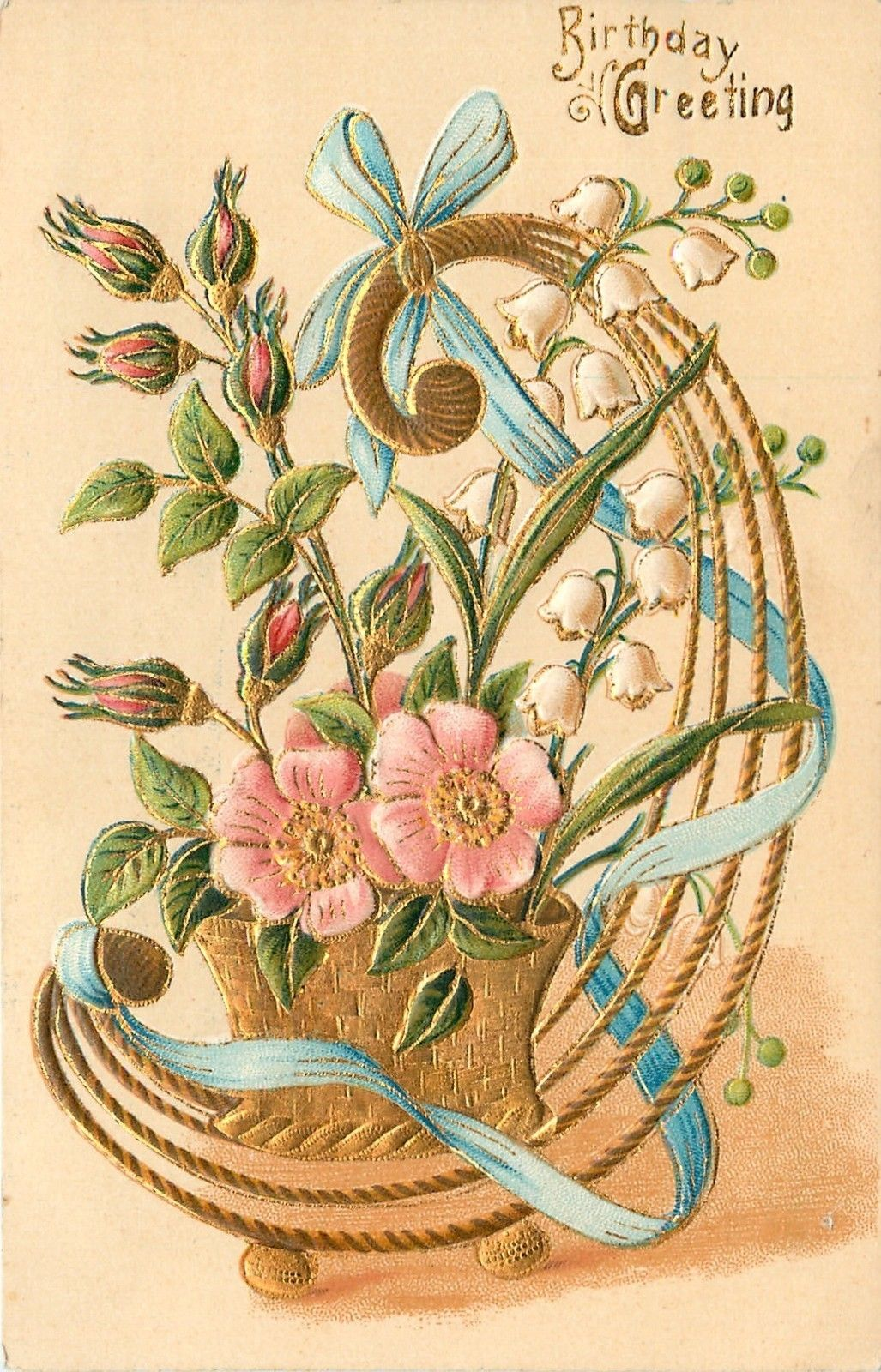 Wild Pink Roses Lily of The Valley Gold Design Art Nouveau Basket Emboss Germany   eBay