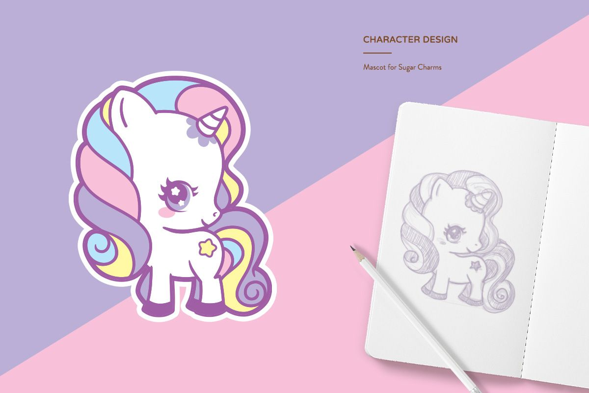 Pastel Unicorn themed logo and brand for Sugar Charms by ...