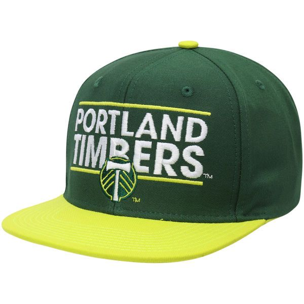 bde569bd1ee Men s Portland Timbers adidas Green Yellow Dassler Flat Brim Two-Tone  Snapback Adjustable Hat