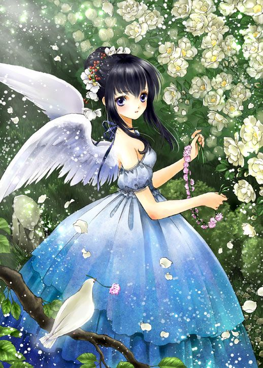 Photo of Angel with black hair, violet eyes, ombre blue dress, feather wings, & white bir…