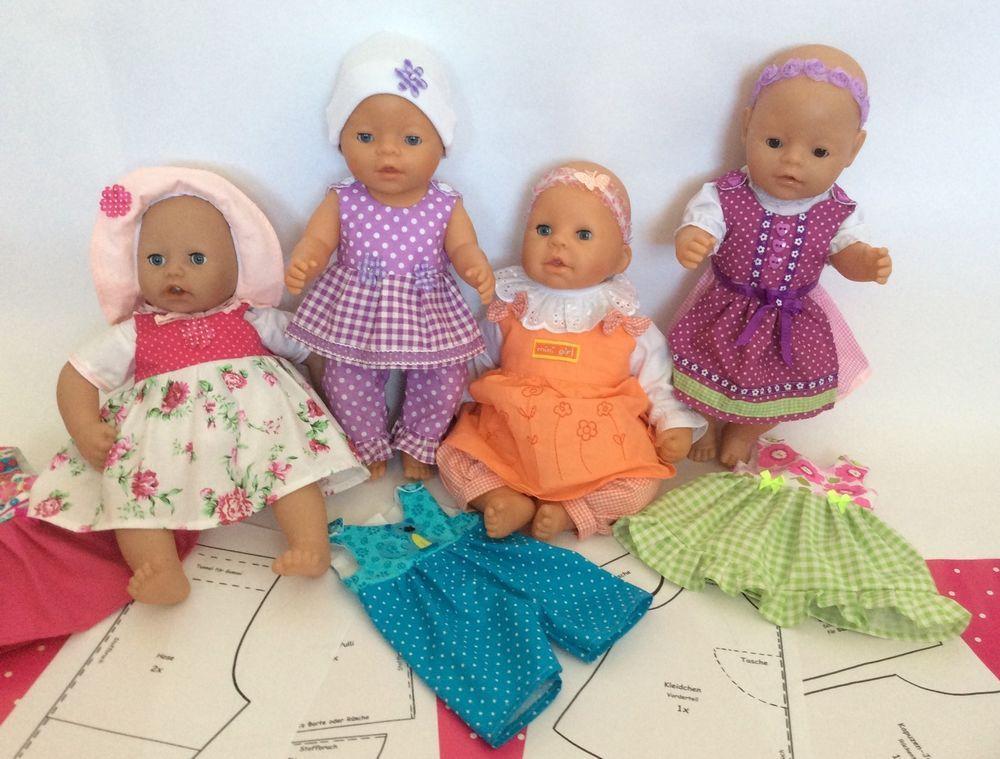✿ Großes SET Schnittmuster Puppenkleidung für Baby Puppen 43cm ...