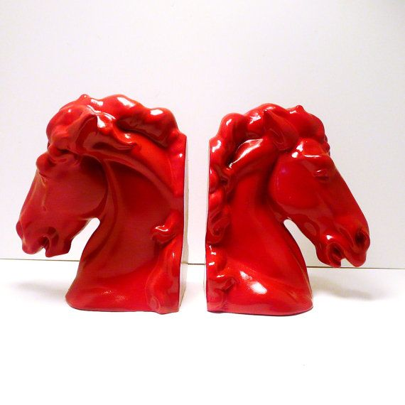 red horse head bookends, by nashpop.com