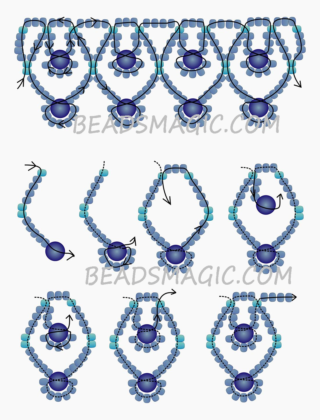 free pattern for necklace blue sky magic beading