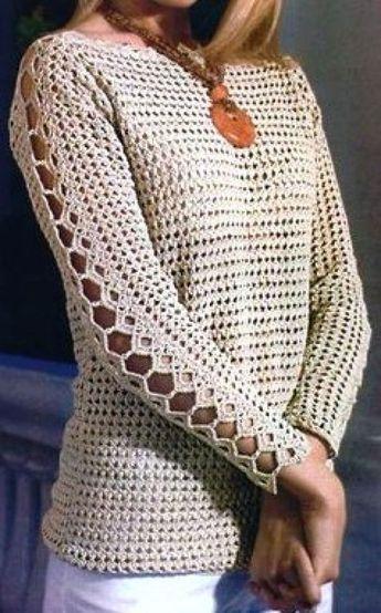 Long Sleeves Crochet Top Pattern   Kleidung häkeln, Häkeln und ...